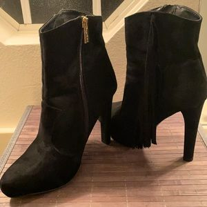 Bebe High Heel Fringe Round Toe Quilted Bootie